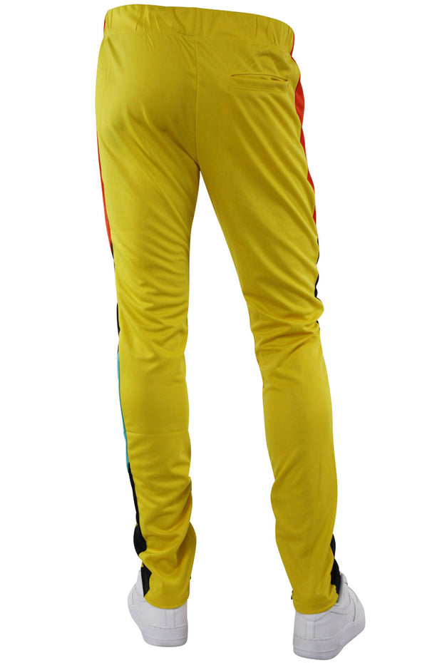Zip Pocket Side Stripe Multi Color Track Pants Yellow (MS-20722) - Zamage