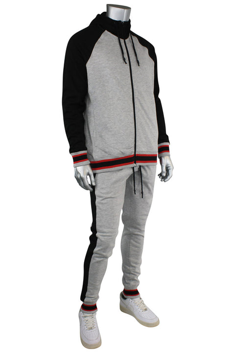 Jordan Craig Color Block Track Hoodie Grey - Black (8327H 22S) - Zamage