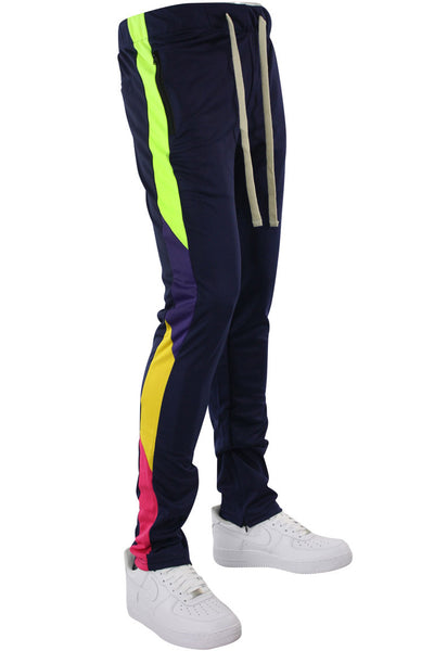Zip Pocket Side Stripe Multi Color Track Pants Navy (MS-20722) - Zamage