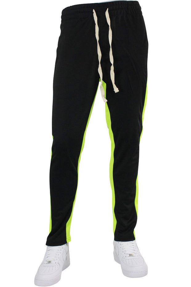 Pique Dual Stripe Track Pants Black - Neon Yellow (1220)