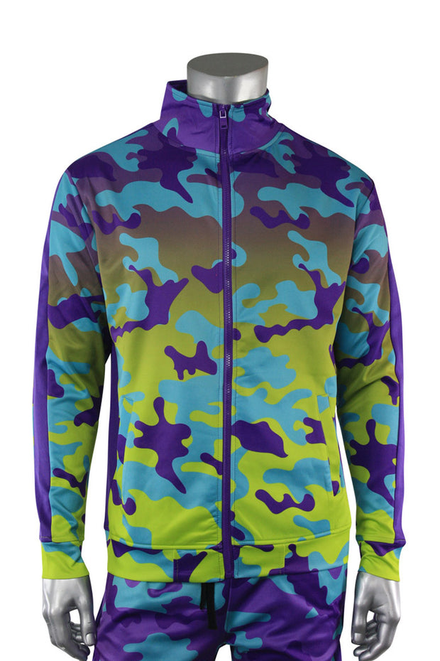Dip Dye Camo Track Jacket Purple (1A1-505) - Zamage