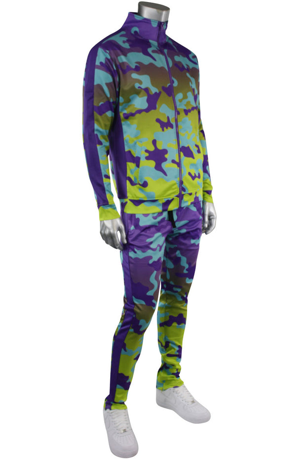 Dip Dye Camo Track Pants Purple (1A1-405) - Zamage