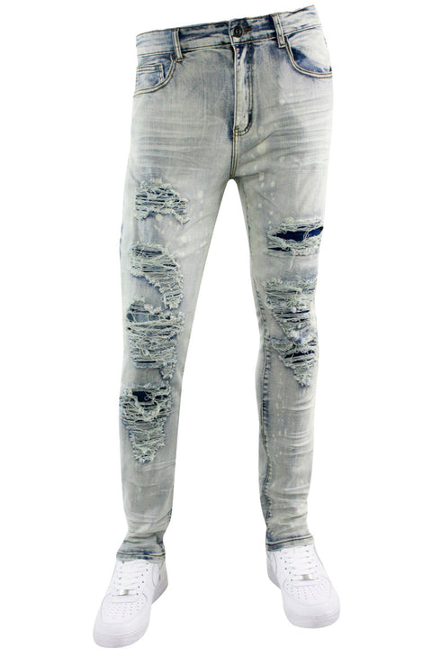 Ripped Skinny Fit Denim Antique Bleach (M5081D) - Zamage