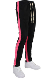 Pique Dual Stripe Track Pants Black - Pink (1220)