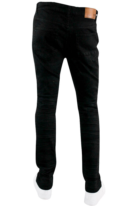 Moto Skinny Fit Denim Jet Black (M5015D) - Zamage