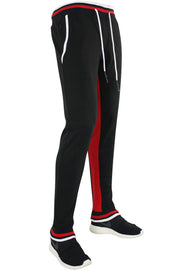Jordan Craig Striped Fleece Joggers Red - Black (8325 22S) - Zamage
