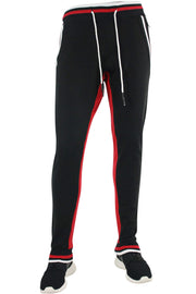 Jordan Craig Striped Fleece Joggers Red - Black (8325 22S)