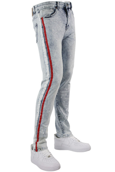 Cracked Side Stripe Skinny Fit Track Denim Snow - Red (M4839D) - Zamage
