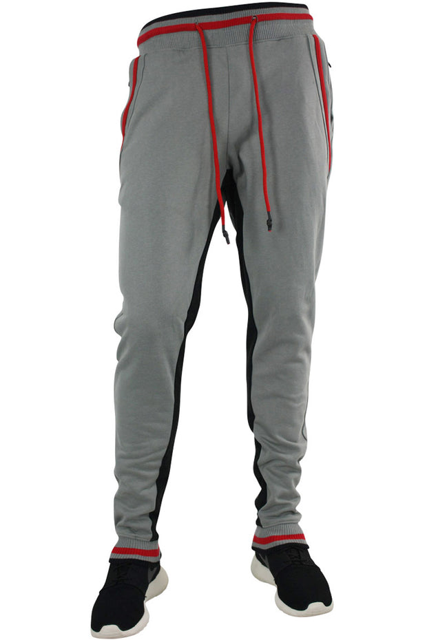Jordan Craig Striped Fleece Joggers Black - Grey (8325 22S)
