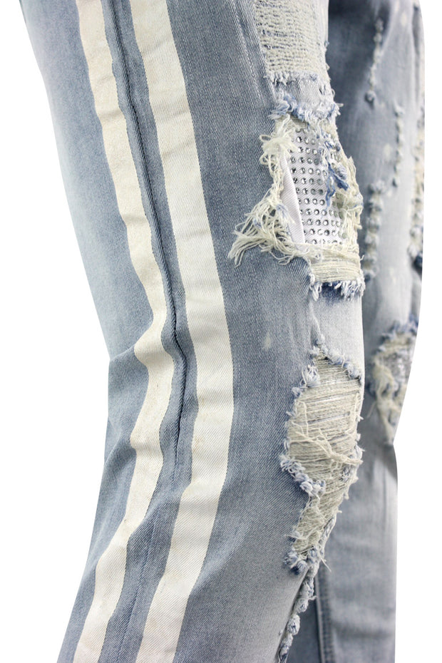Rhinestone Backin Skinny Fit Track Denim Blue Wash - White (HZW2828 22S) - Zamage