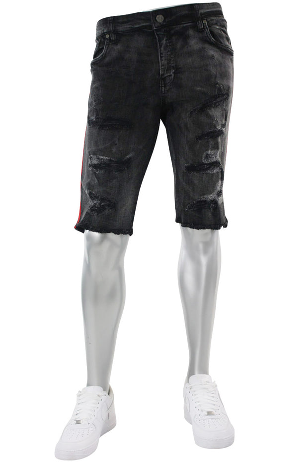 Jordan Craig Side Stripe Denim Shorts Black Shadow (J3157 22S) - Zamage