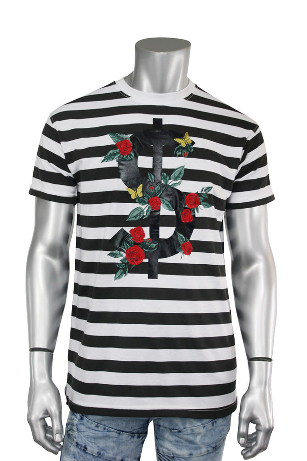 Striped Rose Money Tee White (T923)