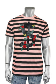 Striped Rose Money Tee Coral (T923)