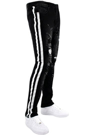 Rhinestone Backin Skinny Fit Track Denim Jet Black - White (HZW2828 22S) - Zamage