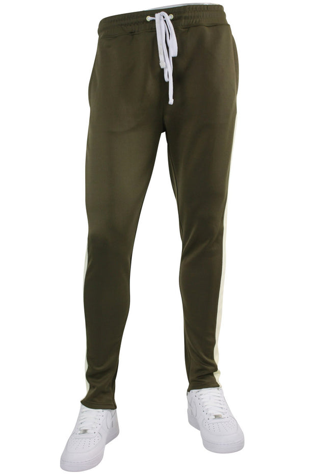 Solid One Stripe Track Pants Olive - Cream (100-401)