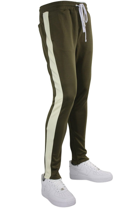 Solid One Stripe Track Pants Olive - Cream (100-402) - Zamage