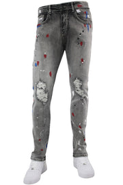 Paint Splatter Skinny Fit Denim Grey Acid (M4773D) - Zamage