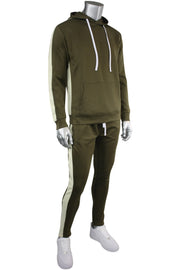 Pullover Track Hoodie Olive - Cream (100-301)
