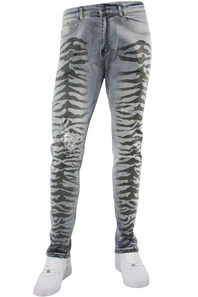 Zebra Print Skinny Fit Denim Vintage Wash (M4775D) - Zamage
