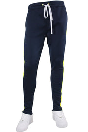 Solid One Stripe Track Pants Navy - Neon Yellow (100-401) - Zamage