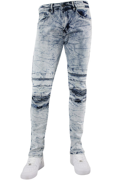 Moto Destroyed Knee Skinny Fit Denim Marble (M4723D) - Zamage