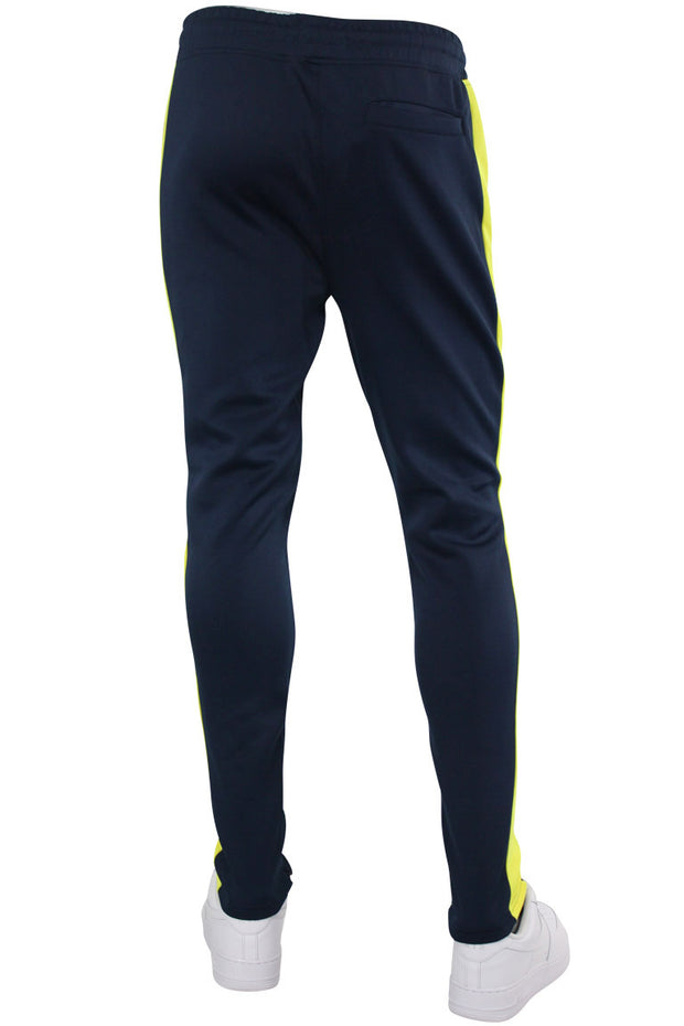 Solid One Stripe Track Pants Navy - Neon Yellow (100-401)