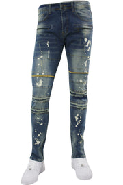 Ripped & Repaired Skinny Fit Denim Medium Blue Wash (M4290DA) - Zamage