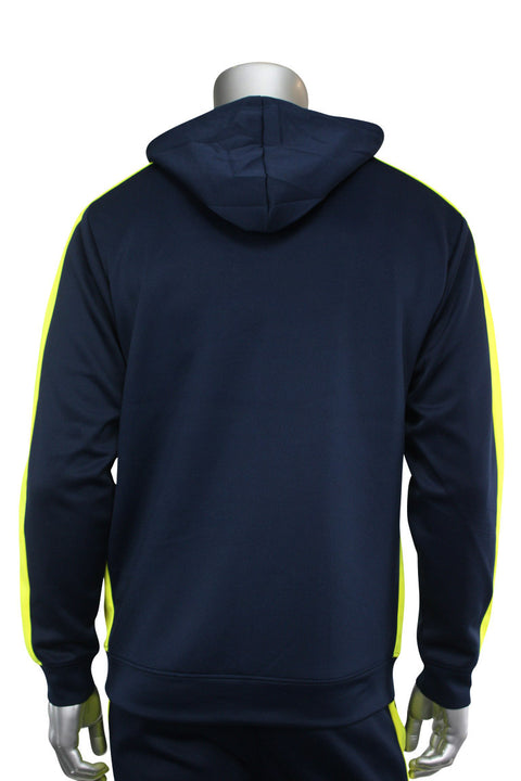 Pullover Track Hoodie Navy - Neon Yellow (100-301) - Zamage