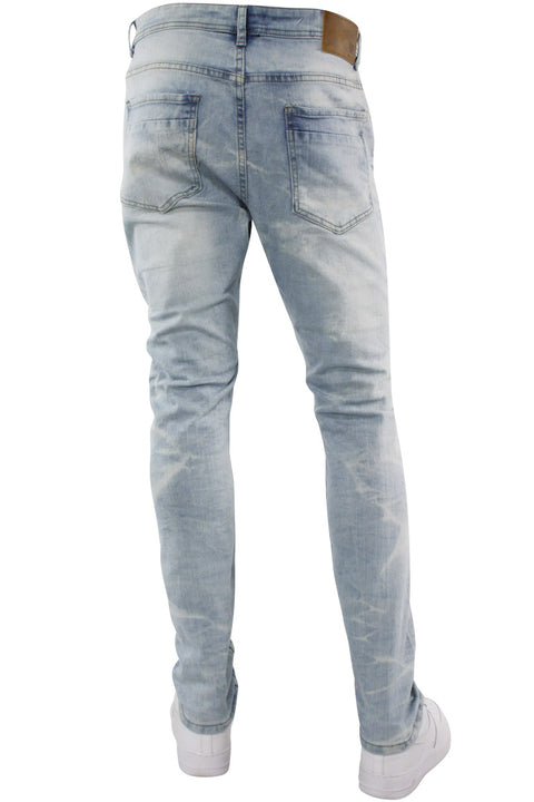 Ripped & Repaired Skinny Fit Denim Blue Wash (M4290DA) - Zamage