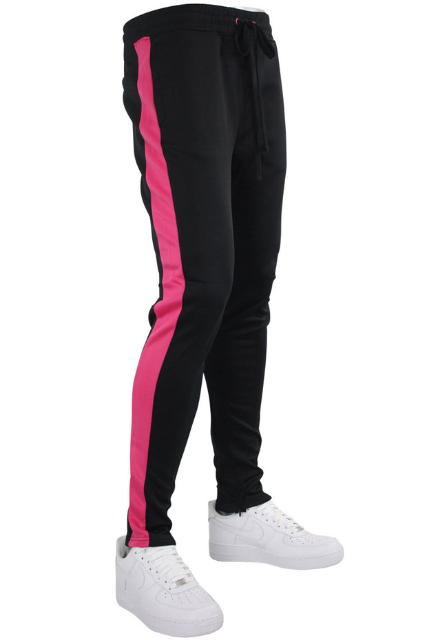Solid One Stripe Track Pants Black - Pink (100-401) - Zamage