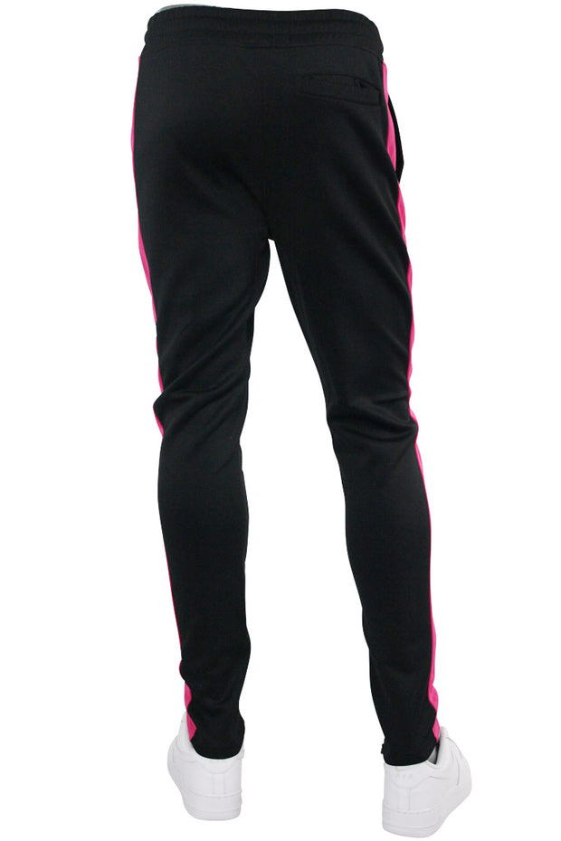Solid One Stripe Track Pants Black - Pink (100-401)