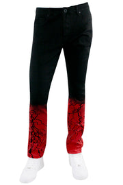 Moto Strike Down Skinny Fit Denim Jet Black - Red (HZW4669) - Zamage
