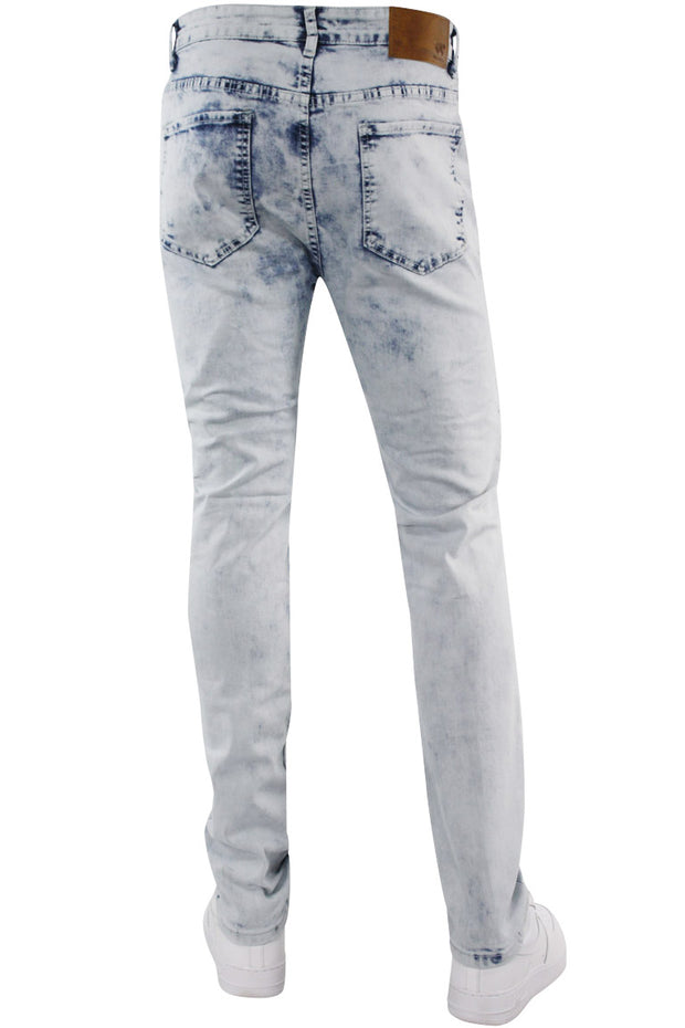 Moto Ribbed Skinny Fit Denim White Wash (M4812D) - Zamage