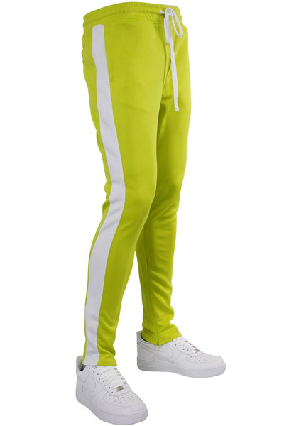Solid One Stripe Track Pants Lime - White (100-402) - Zamage