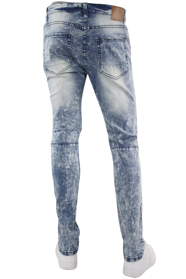 Dart Knee Slit Skinny Fit Denim Light Blue (M4720D) - Zamage