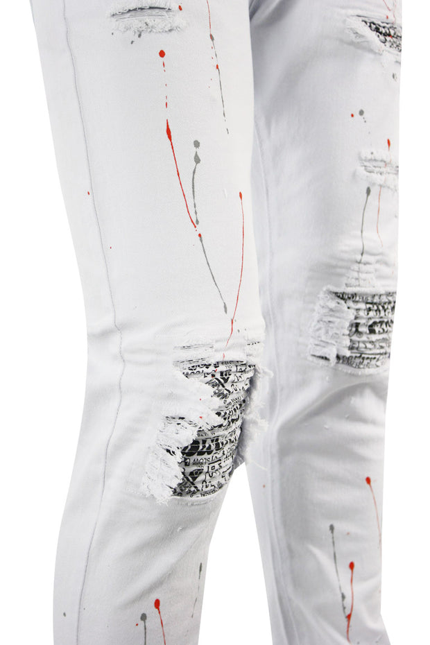 Graffiti Patch Skinny Fit Denim White - Neon Orange (M4824T) - Zamage
