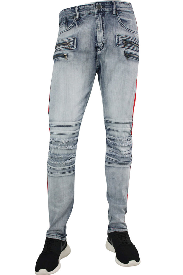 Shredded Zip Denim Track Pants Cloud Wash - Red (ZCM4428D)