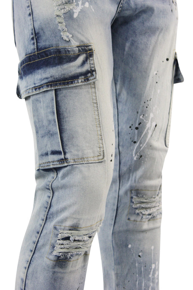 Destroyed Knee Cargo Denim Smudge Blue (MS-13066) - Zamage
