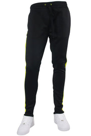 Solid One Stripe Track Pants Black - Lime (100-401) - Zamage
