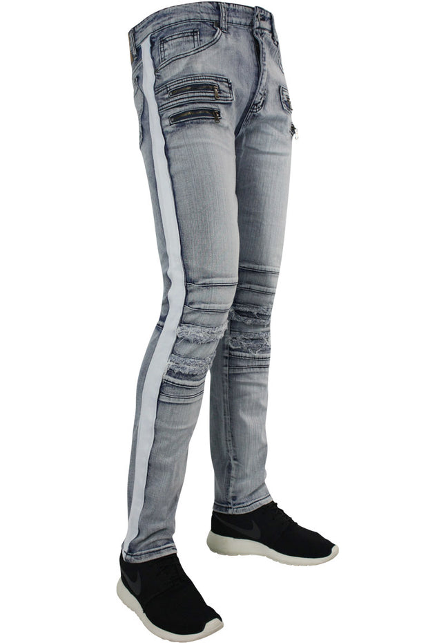 Shredded Zip Denim Track Pants Cloud Wash - White (ZCM4428D)