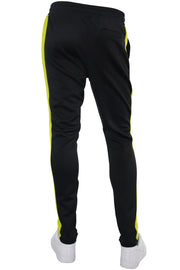 Solid One Stripe Track Pants Black - Lime (100-401)
