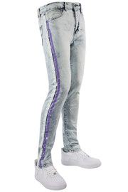 Cracked Side Stripe Skinny Fit Track Denim Snow - Lavender (M4839D) - Zamage