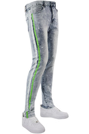 Cracked Side Stripe Skinny Fit Track Denim Snow - Neon Green (M4839D) - Zamage