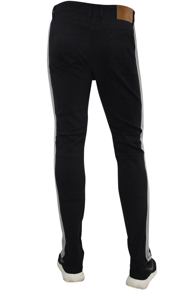 Shredded Moto Denim Track Pants Black - Grey (ZCM4428TA)