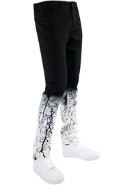 Moto Strike Down Skinny Fit Denim Jet Black - White (HZW4669) - Zamage