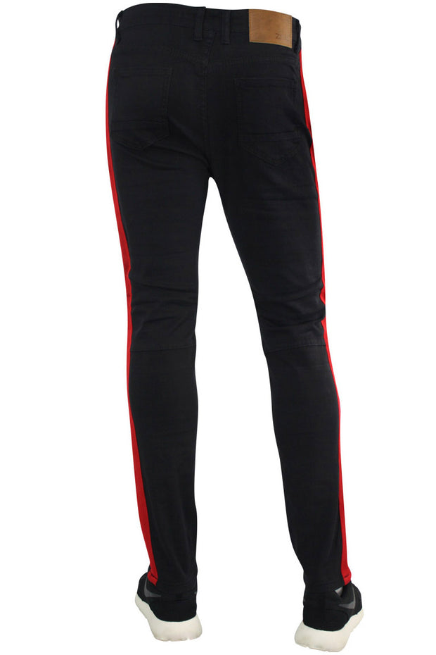 Shredded Moto Denim Track Pants Black - Red (ZCM4428TA)
