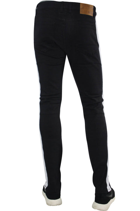 Shredded Moto Denim Track Pants Black - White (ZCM4428TA)