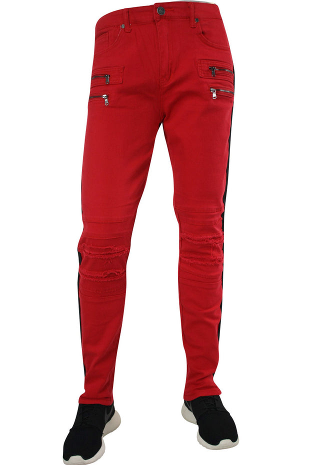 🔥Shredded Moto Denim Track Pants Red - Black (ZCM4428TA)