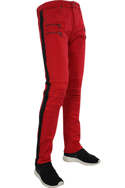 Shredded Moto Denim Track Pants Red - Black (ZCM4428TA)