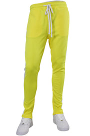 Solid One Stripe Track Pants Neon Yellow (100-401) - Zamage